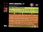 2007 Topps #377  Zack Segovia  Back Thumbnail