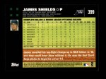 2007 Topps #399  James Shields  Back Thumbnail