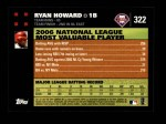 2007 Topps #322   -  Ryan Howard Most Valuable Player Back Thumbnail