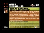 2007 Topps #317   -  Omar Vizquel Golden Glove Back Thumbnail