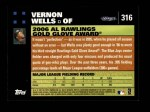 2007 Topps #316   -  Vernon Wells Golden Glove Back Thumbnail