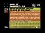 2007 Topps #324  Hanley Ramirez  Back Thumbnail