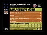2007 Topps #323   -  Justin Morneau Most Valuable Player Back Thumbnail