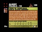 2007 Topps #308   -  Albert Pujols Golden Glove Back Thumbnail