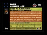 2007 Topps #307   -  Torii Hunter Golden Glove Back Thumbnail