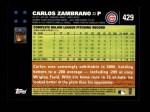 2007 Topps #429  Carlos Zambrano  Back Thumbnail
