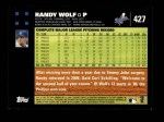 2007 Topps #427  Randy Wolf  Back Thumbnail