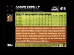 2007 Topps #415  Aaron Cook  Back Thumbnail