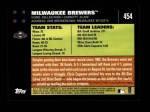 2007 Topps #454   Milwaukee Brewers Back Thumbnail