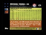 2007 Topps #474  Michael Young  Back Thumbnail