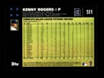 2007 Topps #511  Kenny Rogers  Back Thumbnail