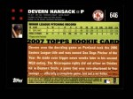 2007 Topps #646  Devern Hansack  Back Thumbnail