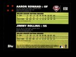 2007 Topps #658   -  Aaron Rowand / Jimmy Rollins Classic Combo Back Thumbnail