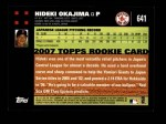 2007 Topps #641  Hideki Okajima  Back Thumbnail