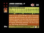 2007 Topps #644  Jared Burton  Back Thumbnail