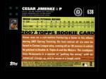 2007 Topps #638  Cesar Jimenez  Back Thumbnail