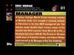 2007 Topps #611  Eric Wedge  Back Thumbnail