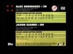 2007 Topps #650   -  Alex Rodriguez / Jason Giambi Classic Combo Back Thumbnail