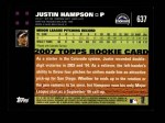 2007 Topps #637  Justin Hampson  Back Thumbnail