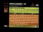 2007 Topps #649  Brian Barden  Back Thumbnail