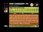 2007 Topps #627  Andy Cannizaro  Back Thumbnail