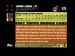 2007 Topps #635  Juan Lara  Back Thumbnail