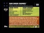 2007 Topps #604   San Diego Padres Back Thumbnail