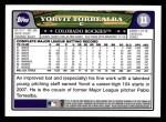 2008 Topps #11  Yorvit Torrealba  Back Thumbnail