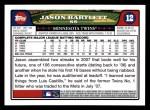 2008 Topps #12  Jason Bartlett  Back Thumbnail