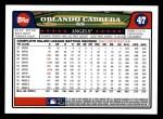 2008 Topps #47  Orlando Cabrera  Back Thumbnail
