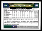 2008 Topps #166  Andy Sonnanstine  Back Thumbnail