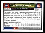 2008 Topps #153  Luis Mendoza  Back Thumbnail