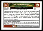 2008 Topps #176  Troy Patton  Back Thumbnail