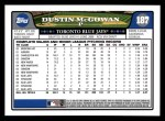 2008 Topps #187  Dustin McGowan  Back Thumbnail