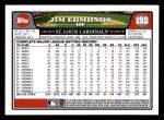 2008 Topps #192  Jim Edmonds  Back Thumbnail