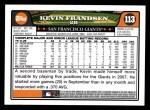 2008 Topps #113  Kevin Frandsen  Back Thumbnail