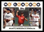 2008 Topps #327   -  Jake Peavy / Aaron Harang / John Smoltz NL Strikeout Leaders Front Thumbnail