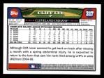 2008 Topps #317  Cliff Lee  Back Thumbnail