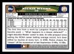 2008 Topps #371  Rickie Weeks  Back Thumbnail
