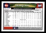 2008 Topps #307  Shawn Hill  Back Thumbnail