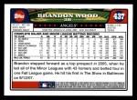 2008 Topps #437  Brandon Wood  Back Thumbnail