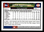 2008 Topps #439  Josh Hamilton  Back Thumbnail