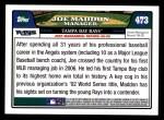 2008 Topps #473  Joe Maddon  Back Thumbnail