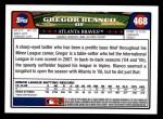 2008 Topps #468  Gregor Blanco  Back Thumbnail