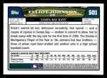 2008 Topps #501  Elliot Johnson  Back Thumbnail