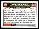 2008 Topps #589  Dave Trembley  Back Thumbnail
