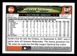 2008 Topps #537  Scott Moore  Back Thumbnail