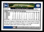 2008 Topps #652  Rod Barajas  Back Thumbnail