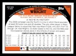 2009 Topps #100  David Wright  Back Thumbnail
