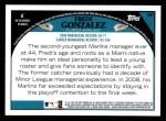 2009 Topps #88  Fredi Gonzalez  Back Thumbnail